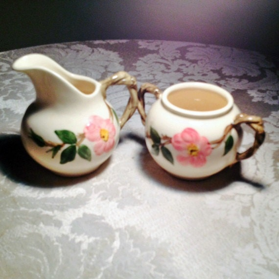 Vintage Franciscan Ware Desert Rose Sugar Bowl And Creamer