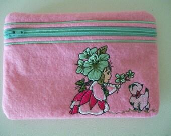 Small felt zippered pouch/purse.