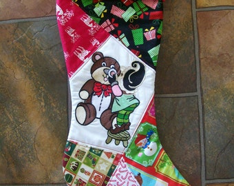 Large Personalised Christmas stocking, without or without embroidered panel