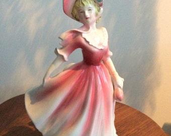 Vintage Figurine Pink Dress Woman 1950's