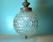 Vintage Hollywood Regency Mid Century Glass Globe Pendant Light Fixture with Ornate Gold Crown and Canopy