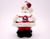 Vintage Santa Claus Figurine.  Ceramic with Spaghetti Trim