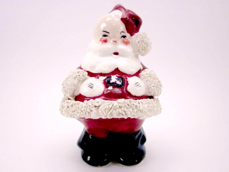 Vintage santa claus figurine ceramic with spaghetti trim