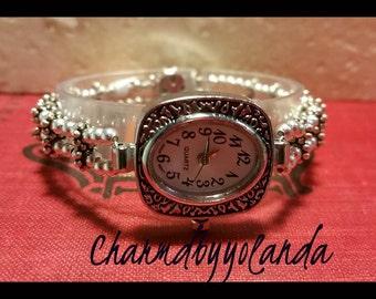 Beaded Bracelet Watch Silvertone