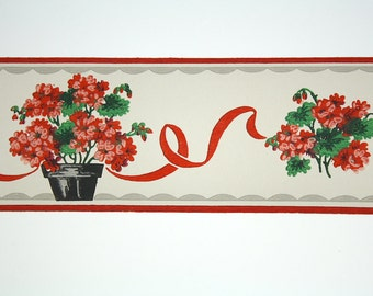 Full Vintage Wallpaper Border- TRIMZ - Red Flowers in Black Flower Pot, Potted Flowers, Red Black and Gray Floral with Ribbon - 4 inch