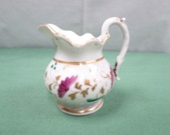 French Antique Handpainted Floral Porcelain Creamer  (v222)