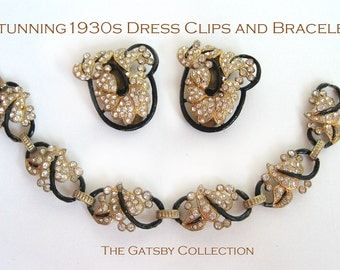 Stunning 1920s 1930s Dress Clips and Bracelet Gold Gilt Black Enamel Clear Rhinestones