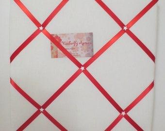 12X12   Cream Linen/Red Ribbon Memo Board