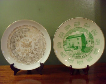 Set of Two Calender Plates 1965 USA and 1975 Gaston's Mill Vintage Decorator Plates