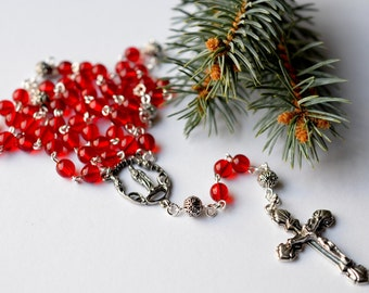 Ruby Red Czech Glass Catholic Rosary Necklace / Traditional 5 Decade Catholic Rosary
