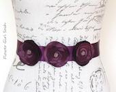 Aubergine Flower Girl Belt, Eggplant Flower Girl Sash, Aubergine Wedding