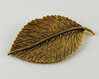 Golden Leaf Clip Brooch