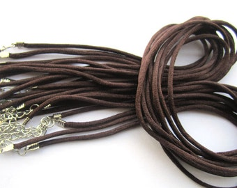 20pcs 18 inch Adjustable brown satin necklace cord andvelveteen cord necklace with white K lobster clasp v005