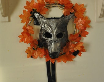 Wolf Mask. Sculpture Assemblage Wall Art