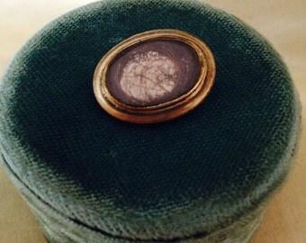 Victorian Gold Filled Hair Brooch / Victorian Memorial Hair Pin