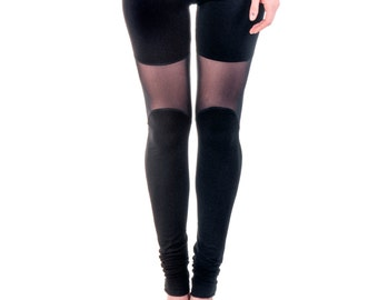Mesh Leggings, Black Sexy Leggings, Extra Long Tights, Women Black Tights, Burningman Clothing