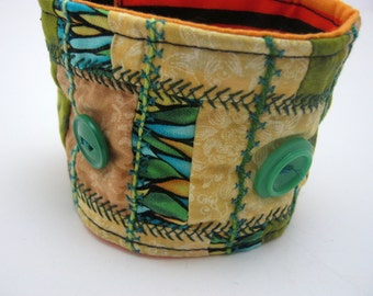 Gypsy Green and Yellow Patchwork Fabric  Cuff