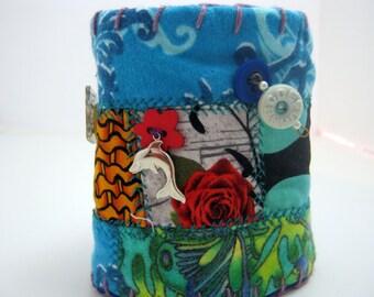 Gypsy Patchwork Fabric Bracelet Cuff