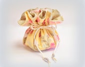 Drawstring Jewelry Bag / Travel Jewelry Pouch / Jewelry Organizer Case / Cosmetic Bag / Yellow Floral with Polka Dots