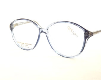 Big Round Eyeglasses, Designer Vintage Womens Translucent Blue Eyewear Frames convert to sunglasses