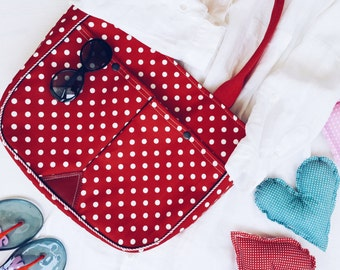Polka Dot Tote Bag ,Large Purse ,Shoulder Bag ,Market Beach Bag , Red White Dotty Retro Bag