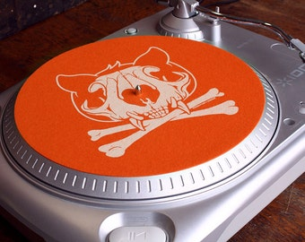 Slipmat - Cat Skull - Orange and Cream - Turntable Slipmat