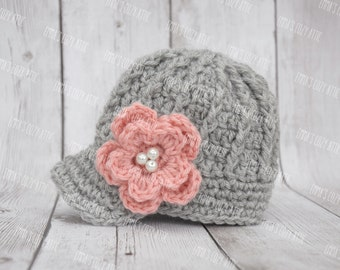 Crochet newborn girl hat, crochet newsboy hat for girls, baby newsboy hat, baby girl hat, coming home outfit, baby girl clothes, pink, grey