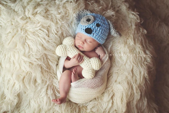 Crochet Pattern Baby Dog Hat : Crochet newborn baby puppy hat and bone set by emmascozyattic