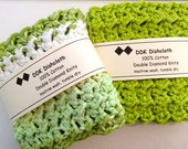 Dishcloths or Washcloths, set of 2, 100% cotton 'Green Apple' crochet