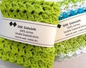 Dishcloths or Washcloths, set of 2, 100% cotton 'Spring Greens'  Crochet