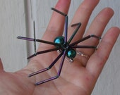 LARGE Spider Pin - Turquoise and Purple Metallic - Beaded - Steam Punk - Good spider - gothic - Halloween- Aracnid - Creepy Crawly