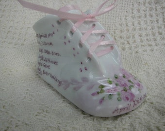 Porcelain Baby shoe with Pink Roses personalized