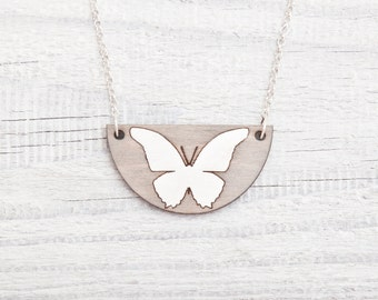 Gray White Butterfly Necklace, Wooden Butterfly Pendant, Gray Necklace, Girlfriend Gift, Valentine's Day Gift, Butterfly Jewelry