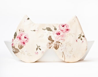 Sleep Mask Cat, Floral pattern, Made to order, Pattern placement varies
