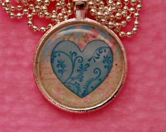 N203 Blue heart Necklace