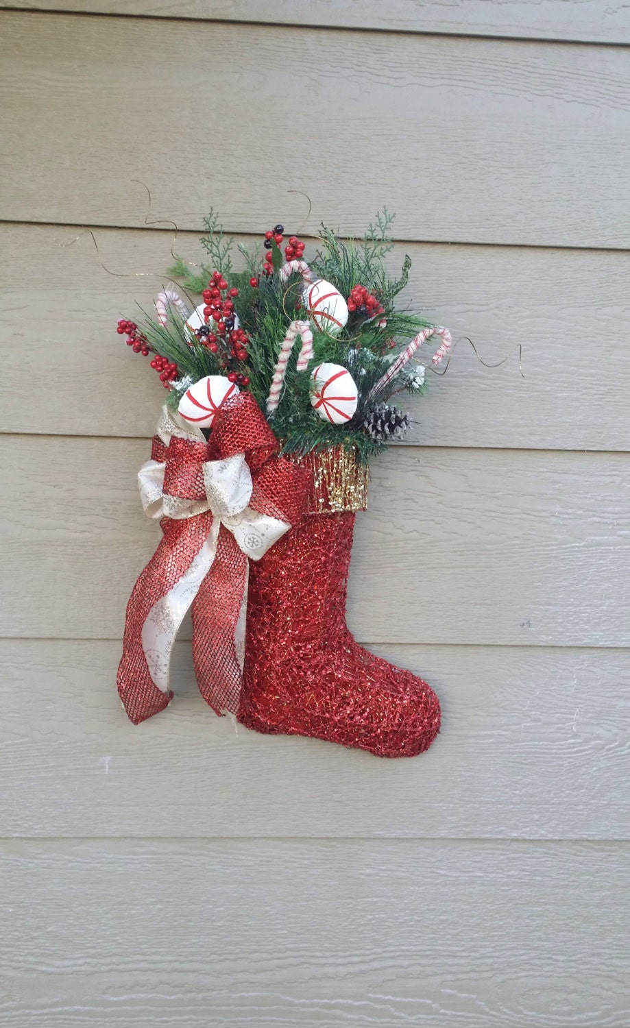 Christmas Wreath - Mesh Wreath - Christmas Stocking - Santa Boot