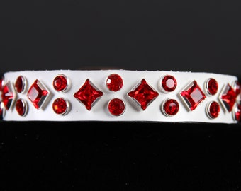 White Leather Dog Collar with Red Crystals