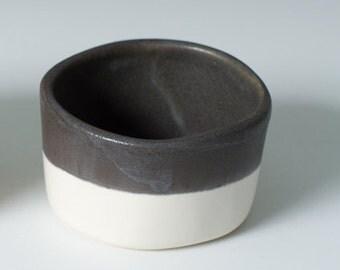 20% off - Black and White Stoneware Salt Cellar, Dipping Cup, Trinket, Ring, Office Supply Holder - Whiskey / Sake Cup - Handmade Modern