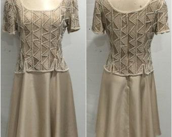 1980s Cream Beaded Party Dress
