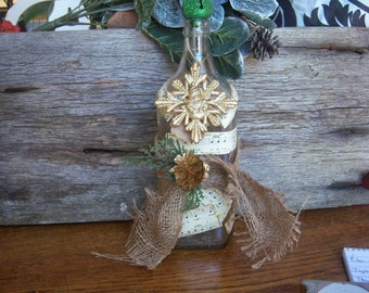 Christmas bottle, altered bottle, christmas decor, upcycled bottle
