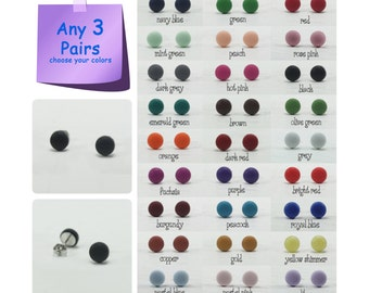 Any 3 Pairs - 7mm Matte Stud Earrings - Choose Your Colors - Small Matte Earrings - Simple Small Studs - Matte Men Earrings Stud