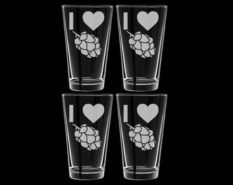 I Love Hops Set of 4 Pint Glasses