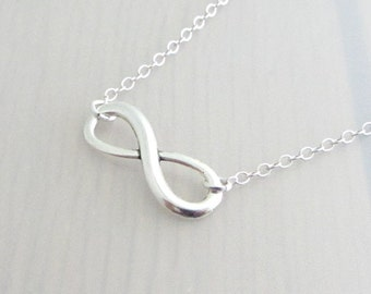 Silver Plated Infinity Charm On A Sterling Silver Necklace, Silver Eternity Necklace, Silver Infinity Necklace, Valentine Gift