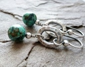 African Turquoise Jasper Earrings / Hill Tribe Fine Silver / Dangle Earrings / Boho / SimplyJoli / Tribal