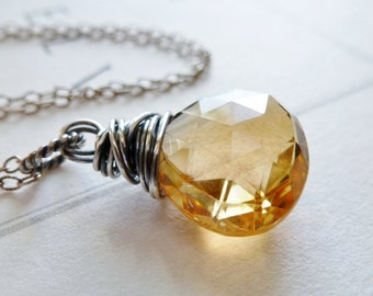 Citrine Necklace / Sterling Silver Wire Wrapped / November Birthstone / SimplyJoli / Sparkling Golden Honey Amber Champagne