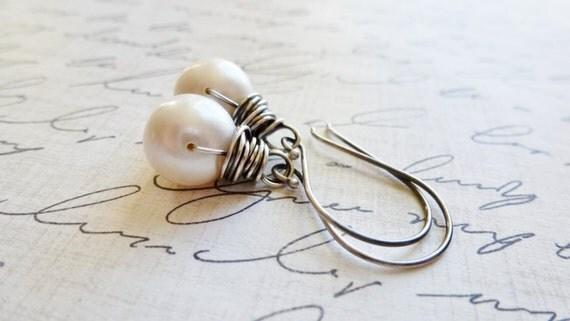 Freshwater Pearl Earrings / Sterling Silver Wire Wrapped / SimplyJoli Fashion Jewelry / June Birthstone