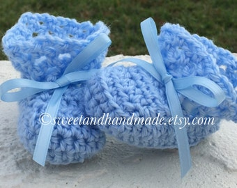 Crochet baby boy booties newborn booties blue baby booties handmade baby boy booties MADE TO ORDER