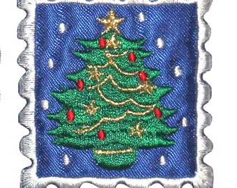 ID #8202B Christmas Tree Holiday Stamp Badge Embroidered Iron On Applique Patch