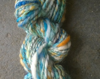 Handspun Yarn: Turquoise, Blue, Gold and Green; 2 ply with Sparkle