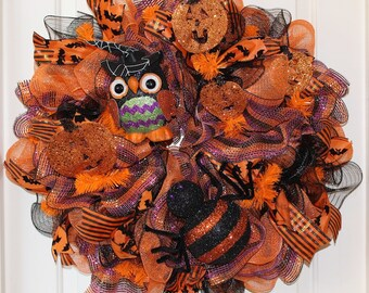 Halloween Wreath with a Big, Scary Spider and Adorable Owl
